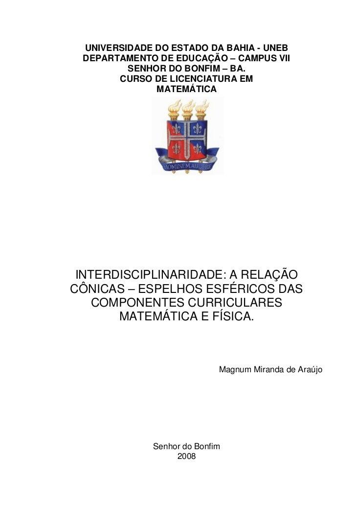 UNIVERSIDADE DO ESTADO DA BAHIA - UNEB DEPARTAMENTO DE EDUCAÇÃO – CAMPUS VII         SENHOR DO BONFIM – BA.       CURSO DE...