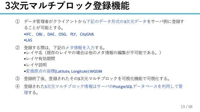 / 68 3 •IFC OBJ DAE OSG PLY CityGML •LAS • • • • (Latitute, Longitute):WGS84 3 3 PostgreSQL 19