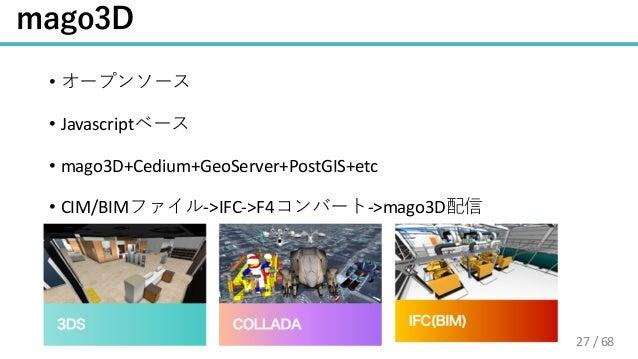 / 68 • • Javascript • mago3D+Cedium+GeoServer+PostGIS+etc • CIM/BIM ->IFC->F4 ->mago3D 27