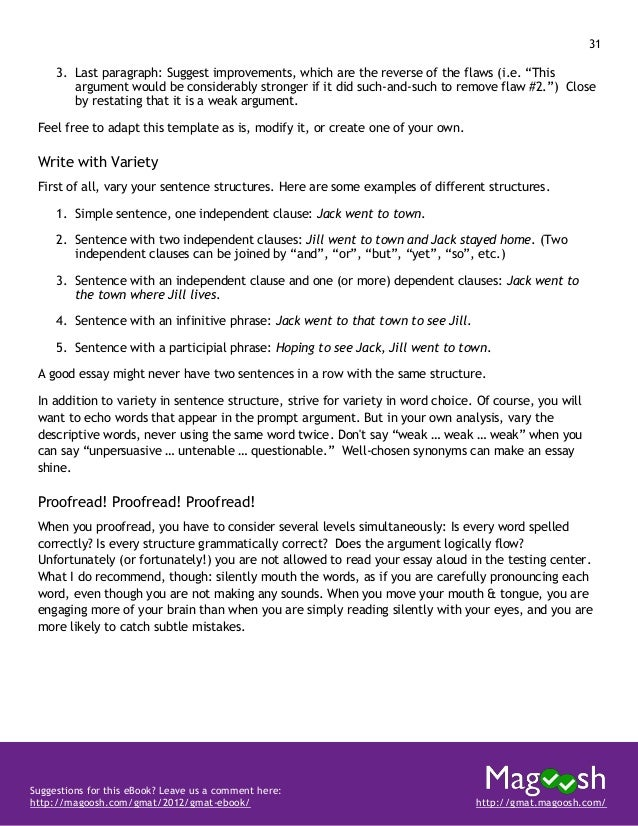 32 Suggestions for this eBook? Leave us a comment here: http://magoosh.com/gmat/2012/gmat-ebook/ http://gmat.magoosh.com/ ...