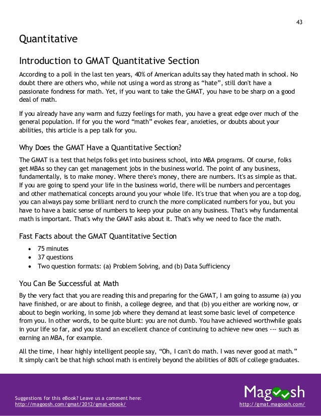 44 Suggestions for this eBook? Leave us a comment here: http://magoosh.com/gmat/2012/gmat-ebook/ http://gmat.magoosh.com/ ...