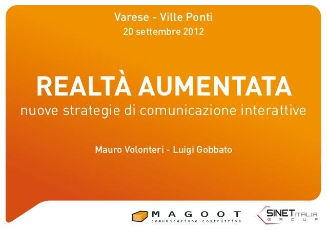 REALTÀ AUMENTATA nuove strategie di comunicazione interattive Varese - Ville Ponti 20 settembre 2012 Mauro Volonteri - Lui...
