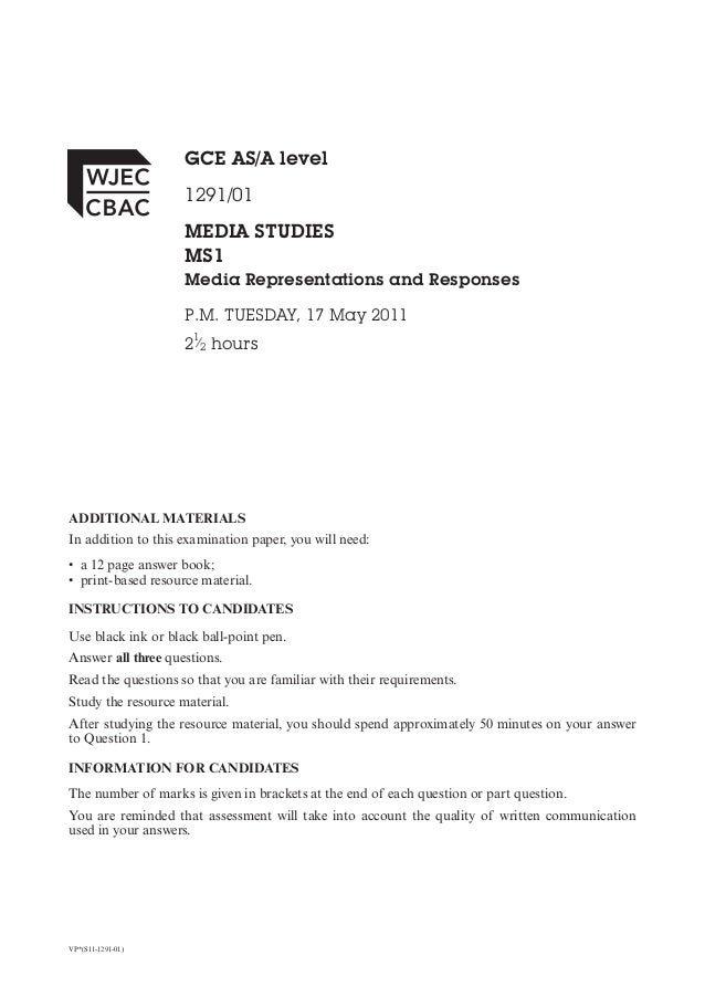 GCE AS/A level                    1291/01                    MEDIA STUDIES                    MS1                    Media...