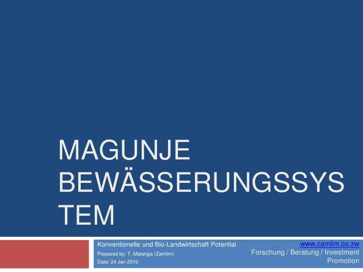 MagunjeBewässerungssystem<br />Konventionelle und Bio-LandwirtschaftPotential<br />Prepared by: T. Matenga (Zamlim)<br />D...
