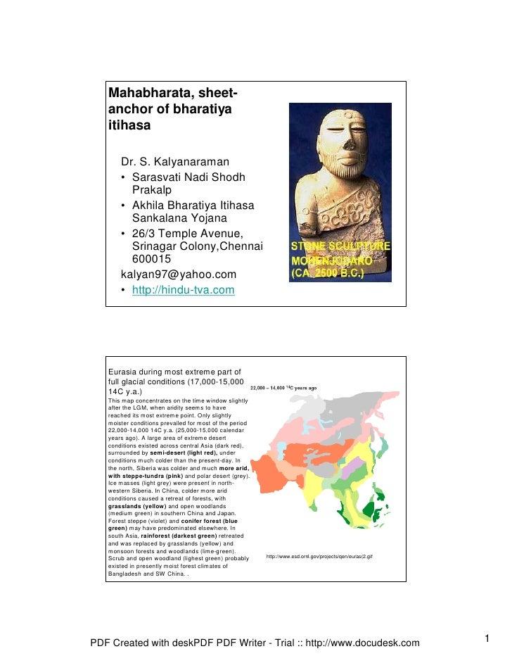 Mahabharata, sheet-    anchor of bharatiya    itihasa         Dr. S. Kalyanaraman        • Sarasvati Nadi Shodh          P...
