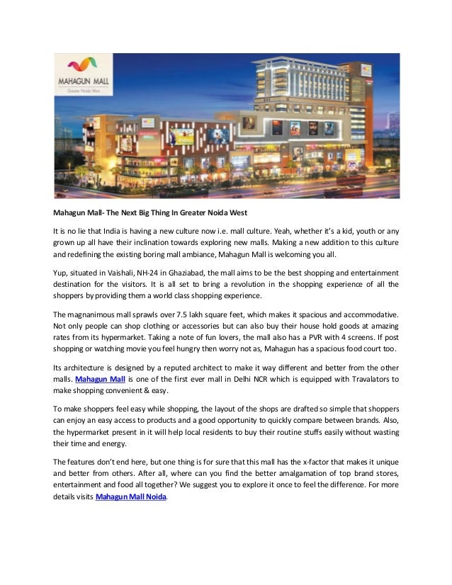 Mahagun mall the next big thing in greater noida west
