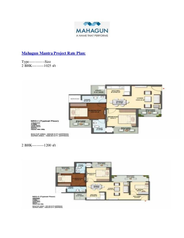 Mahagun Mantra Project Rate Plan: Type-------------Size 2 BHK----------1025 sft 2 BHK----------1200 sft