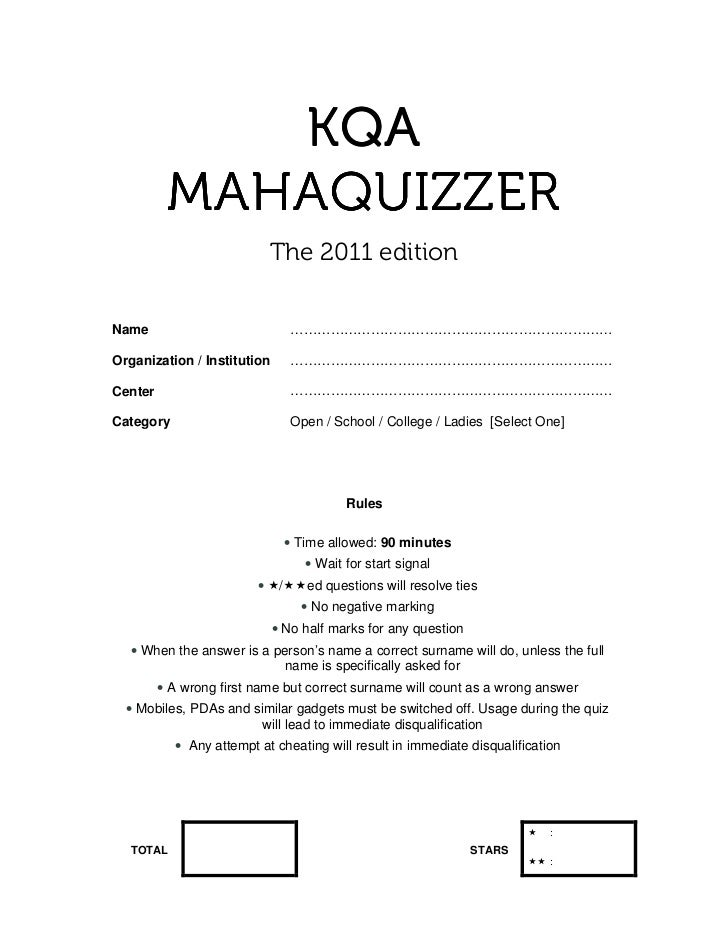KQA          MAHAQUIZZER                             The 2011 editionName                              …………………………………………………...