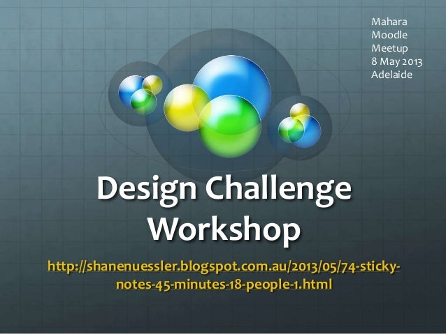 Design ChallengeWorkshophttp://shanenuessler.blogspot.com.au/2013/05/74-sticky-notes-45-minutes-18-people-1.htmlMaharaMood...