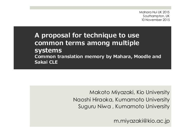 A  proposal  for  technique  to  use   common  terms  among  multiple   systems Common  translation...