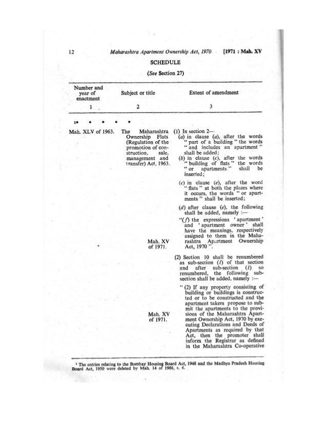 Apartment Management Maharashtra Apartment Ownership Act