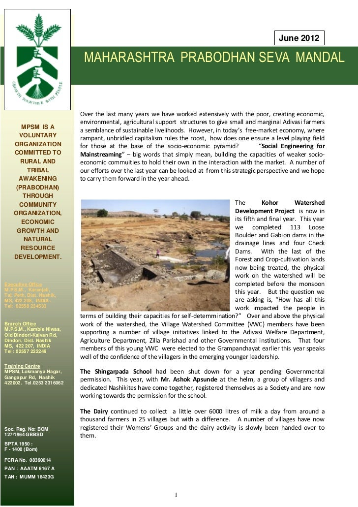 June 2012                            MAHARASHTRA PRABODHAN SEVA MANDAL                           Over the last many years ...