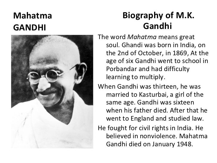 Mahatma gandhi biography for students