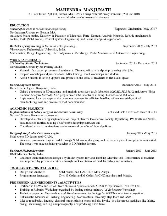 Mahendra design engineer. resume