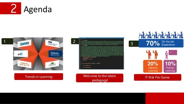 1 2 Agenda Trends in Learning 3 IT Risk Pro Game 2 Welcome to the latest pedagogy!