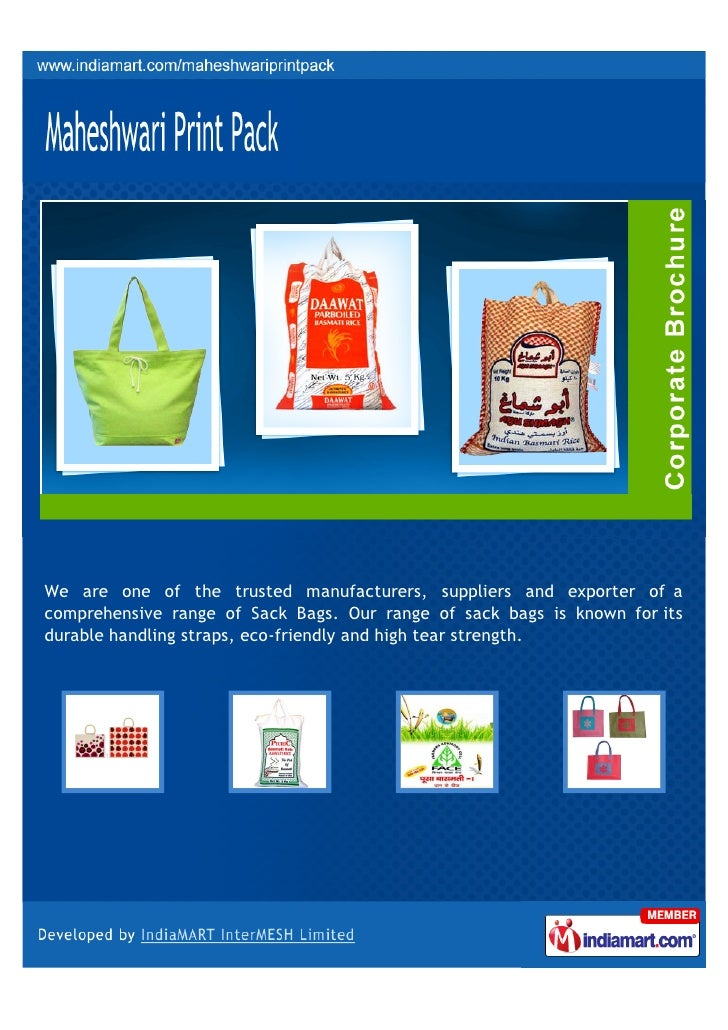 We are one of the trusted manufacturers, suppliers and exporter of acomprehensive range of Sack Bags. Our range of sack ba...