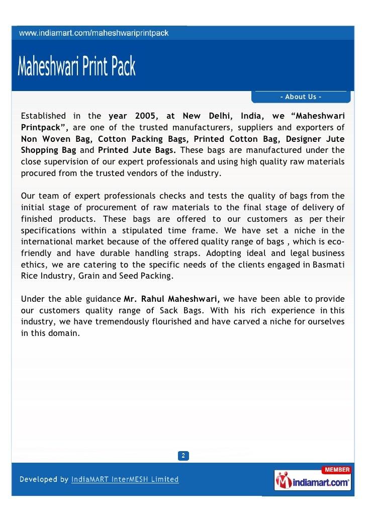 Maheshwari Print Pack, New Delhi, Jute Bag Slide 2