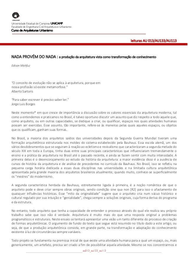 Universidade Estadual de Campinas UNICAMPFaculdade de Engenharia Civil Arquitetura e UrbanismoCurso de Arquiteturae Urban...