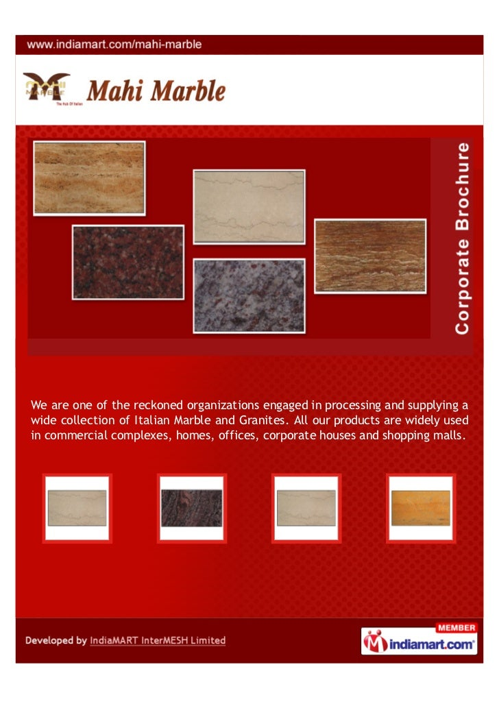 We are one of the reckoned organizations engaged in processing and supplying awide collection of Italian Marble and Granit...