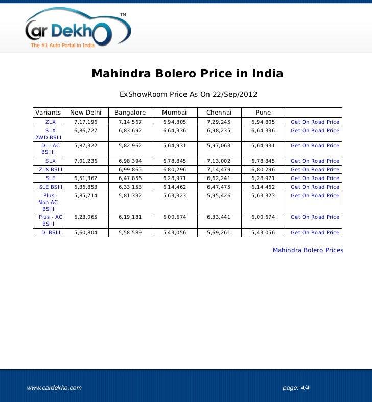 Mahindra Bolero Price 21sep2012