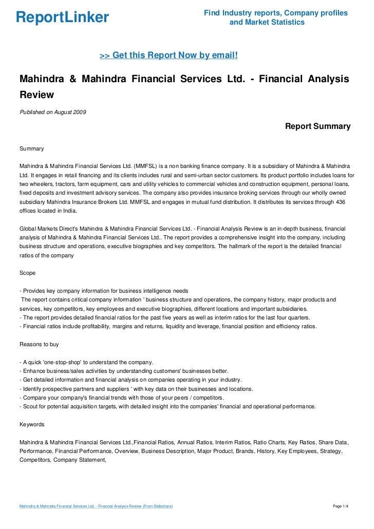 Mahindra Amp Mahindra Financial Services Ltd Financial
