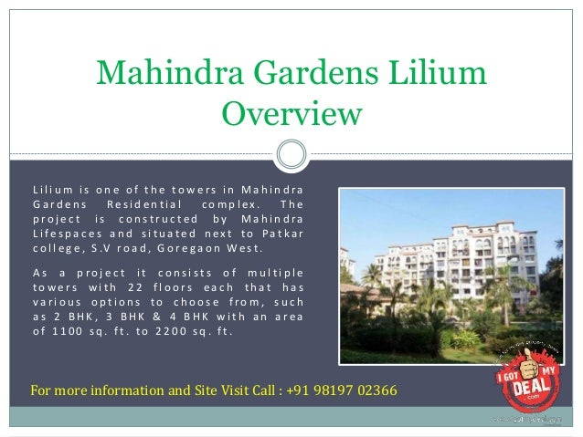 2BHK, 3BHK, 4BHK Flat for Sale / Rent in Mahindra Gardens