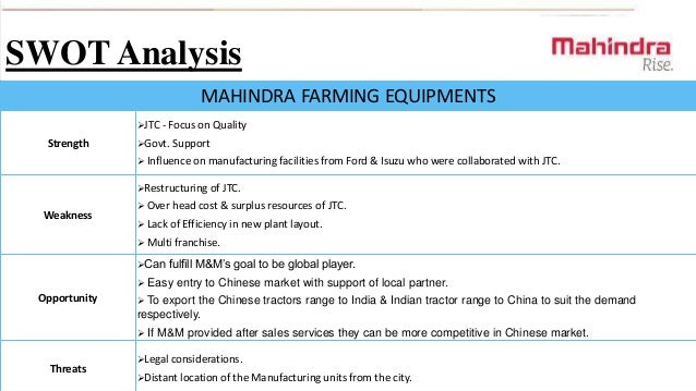 Mahindra and Mahindra SWOT Analysis