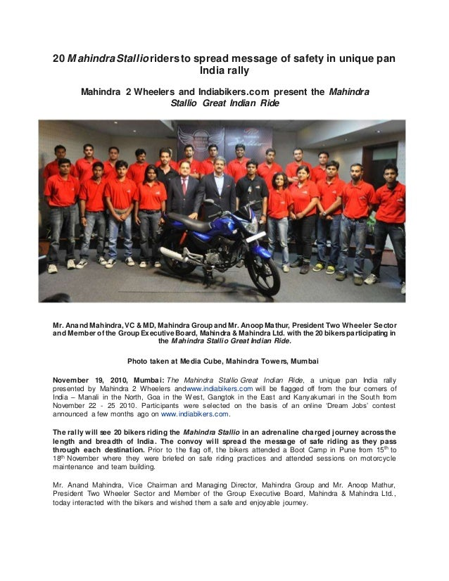 20 MahindraStallioridersto spread message of safety in unique pan India rally Mahindra 2 Wheelers and Indiabikers.com pres...