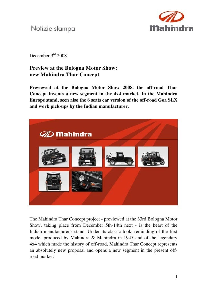 December 3rd 2008  Preview at the Bologna Motor Show: new Mahindra Thar Concept  Previewed at the Bologna Motor Show 2008,...