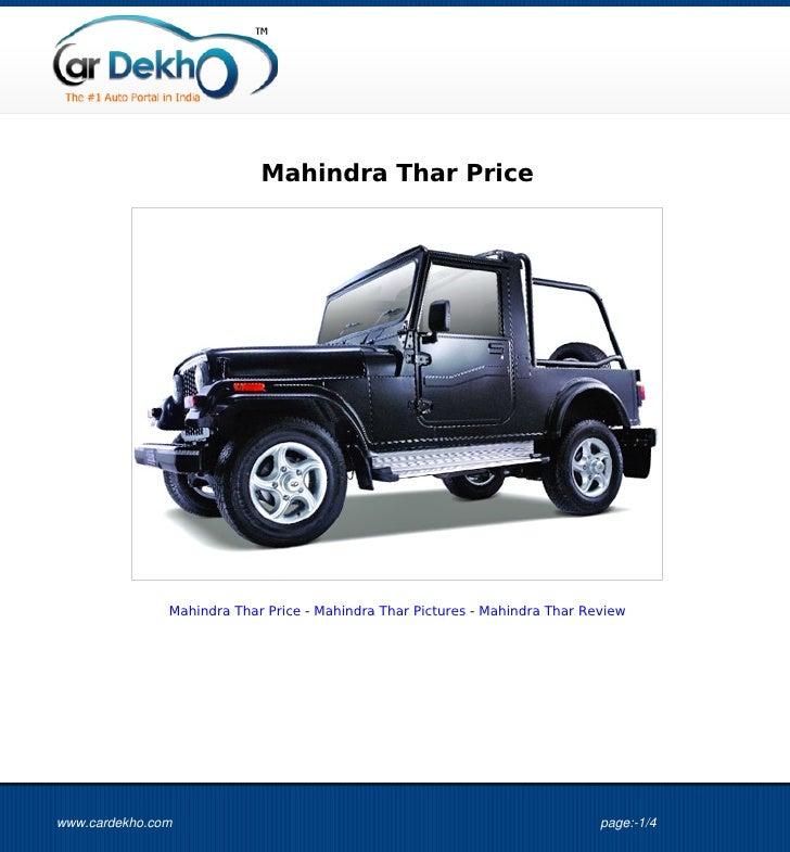 Mahindra Thar Price               Mahindra Thar Price - Mahindra Thar Pictures - Mahindra Thar Reviewwww.cardekho.com     ...