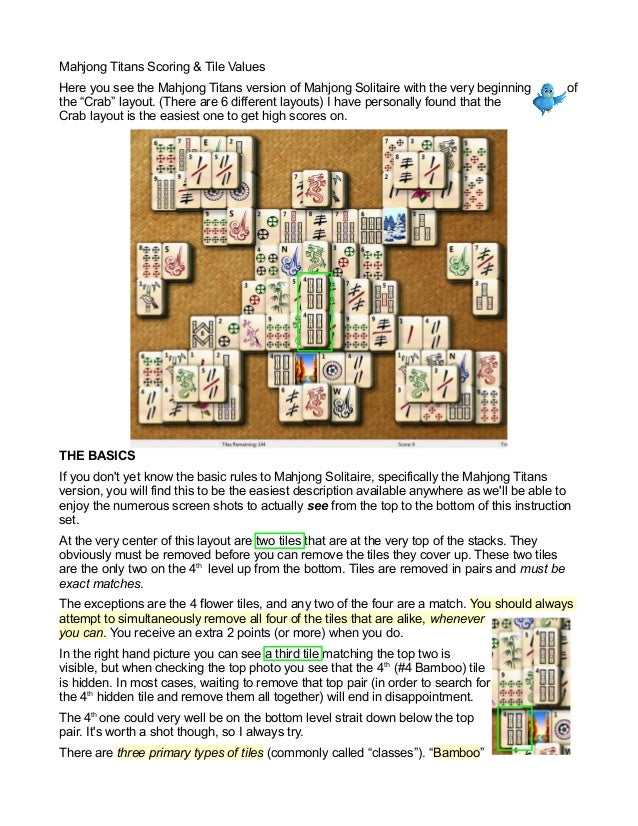 Mahjong Titans Scoring & Tile Values - How To Get High Scores