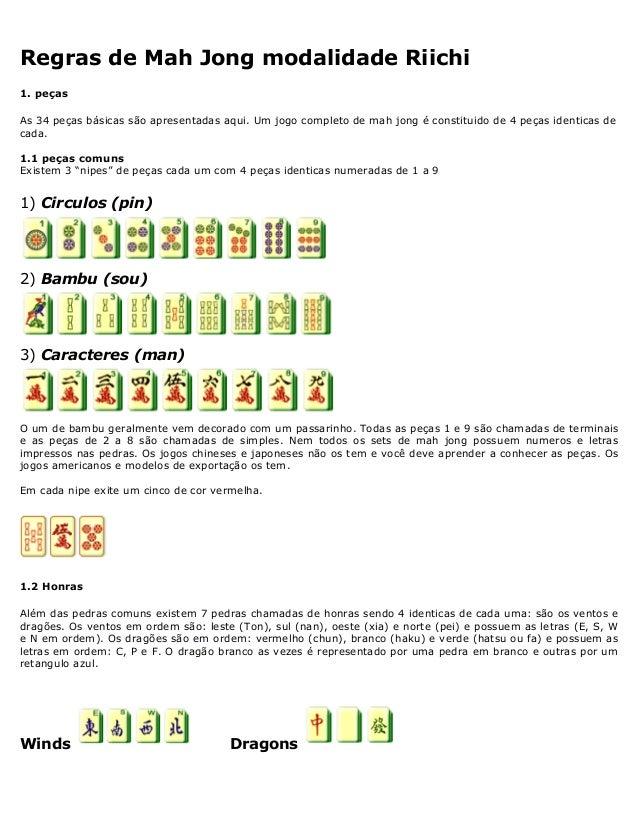 Regras de Mah Jong modalidade Riichi 1. peças As 34 peças básicas são apresentadas aqui. Um jogo completo de mah jong é co...