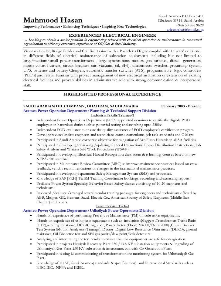 substation engineer resume