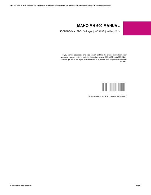 maho mh 600 manual rh slideshare net Service ManualsOnline Service ManualsOnline