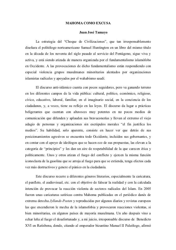 """MAHOMA COMO EXCUSA                                       Juan José Tamayo       La estrategia del """"Choque de Civilizacione..."""