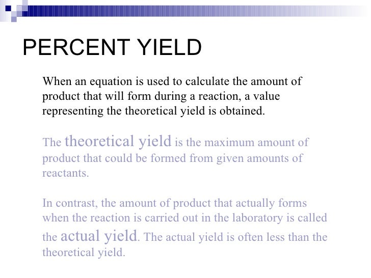 Stoichiometry – Percent Actual and Theoretical Yield Worksheet