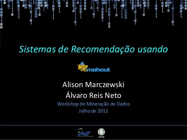 Sistemas de Recomendação usando Mahout Alison Marczewski Álvaro Reis Neto Workshop de Mineração de Dados Julho de 2012