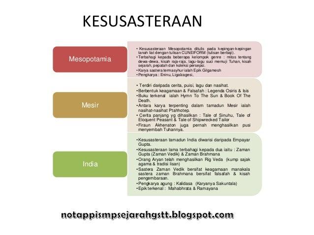 KESUSASTERAAN• Kesusasteraan Mesopotamia ditulis pada kepingan-kepingantanah liat dengan tulisan CUNEIFORM (tulisan berbaj...