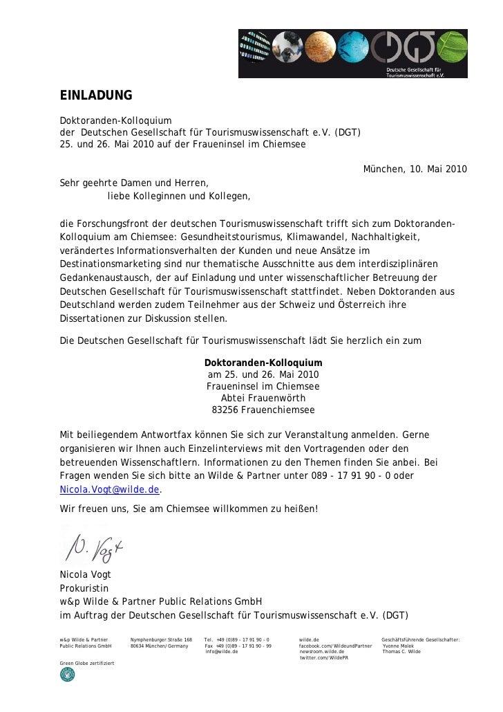 EINLADUNG Doktoranden-Kolloquium der Deutschen Gesellschaft für Tourismuswissenschaft e.V. (DGT) 25. und 26. Mai 2010 auf ...