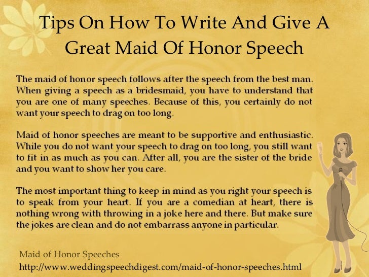 help writing a maid of honor speech