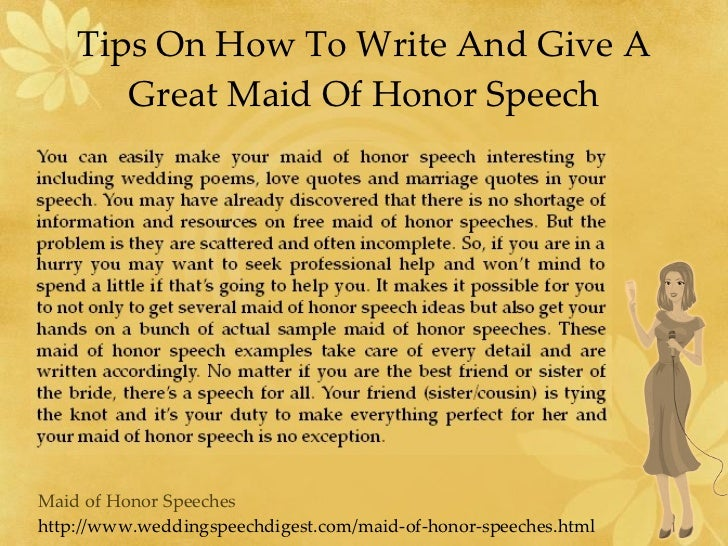 How To Be The Best Maid Of Honor: Maid Of Honor Speeches