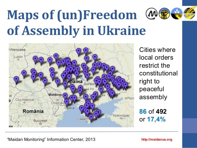 Maps of (un)Freedom of Assembly in Ukraine Cities where local orders restrict the constitutional right to peaceful assembl...