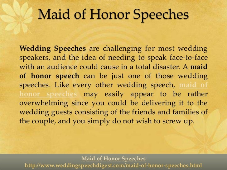 Maid Of Honor Speeches Make Them Short But Sweet