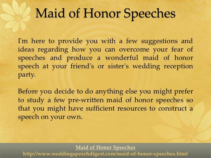 Maid of Honor Speeches - Make Them Short but Sweet