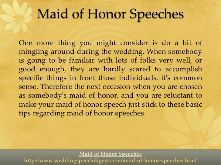 Maid Of Honor Speechesbr