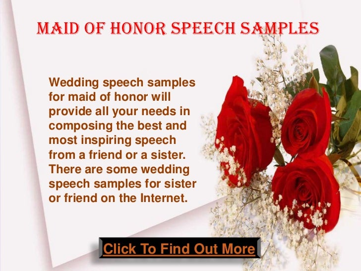 Maid Of Honor Speech Samples Wedding