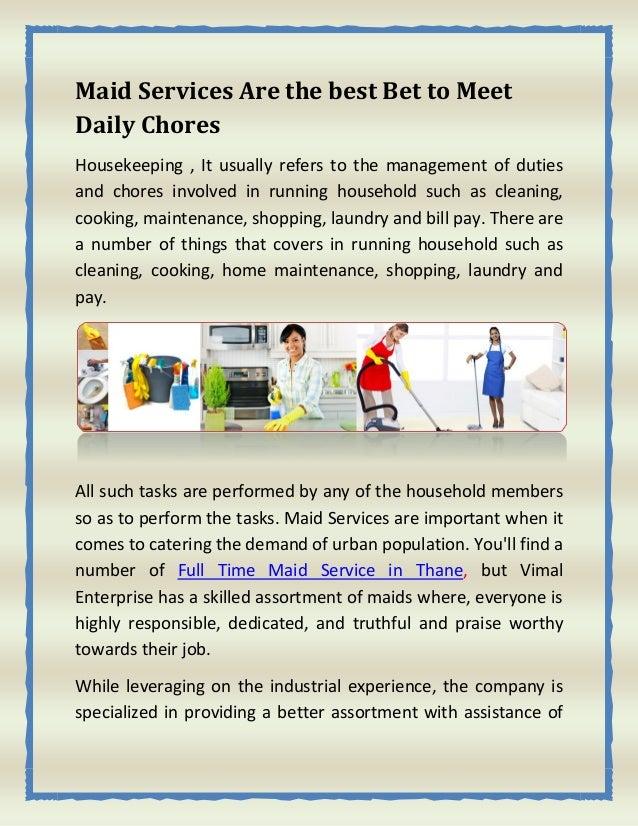A houseboy s chores