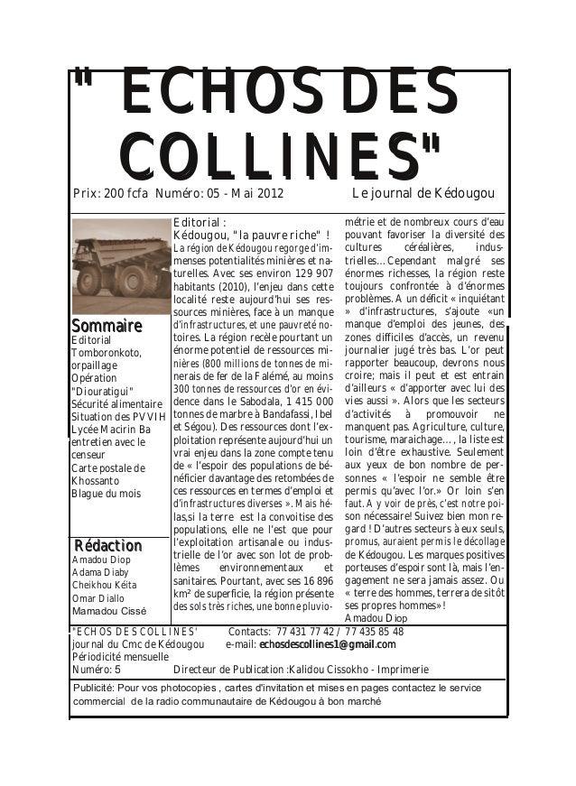 """"""""""" EECCHHOOSS DDEESS CCOOLLLLIINNEESS"""""""" SSoommmmaaiirree Editorial Tomboronkoto, orpaillage Opération """"Diouratigui"""" Sécuri..."""