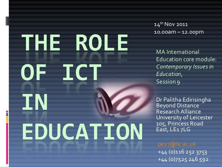 14 th  Nov 2011 10.00am – 12.00pm MA International Education core module:  Contemporary Issues in Education ,  Session 9 D...