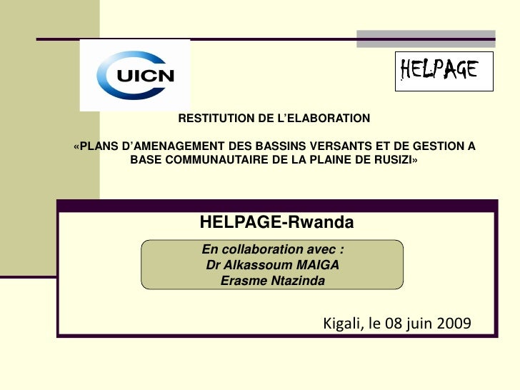 HELPAGE               RESTITUTION DE L'ELABORATION  «PLANS D'AMENAGEMENT DES BASSINS VERSANTS ET DE GESTION A         BASE...